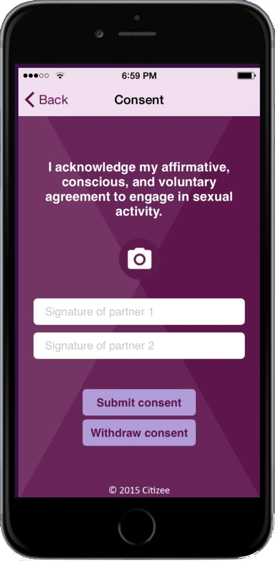affirmative consent citizee app screen