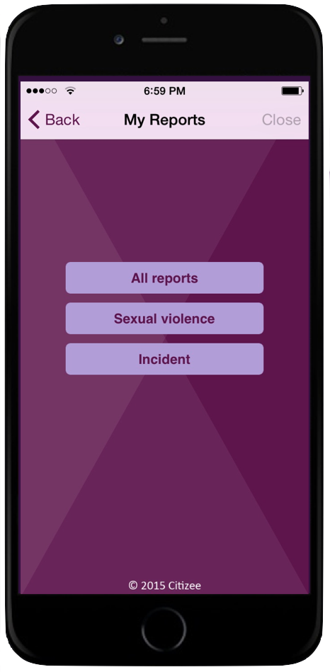 incident reporting citizee app screen